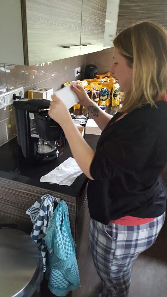 Koffiefilters van wc papier geruite pyjamabroek Landal weekend bloggers