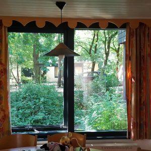 uitzicht bos huisje Center Parcs eekhoorn gordijnen lisette schrijft