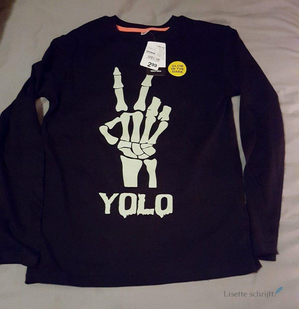 halloween shirt bij Zeeman Glow in the dark Lisette Schrijft