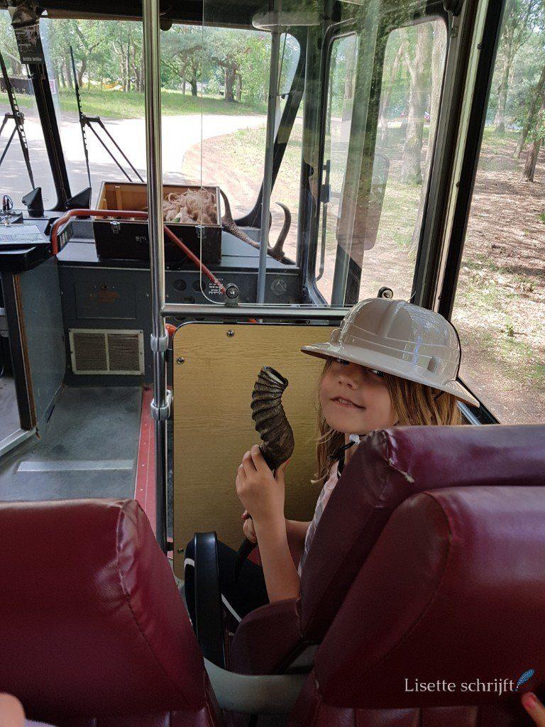 meisje houdt een hoorn vast in de bus