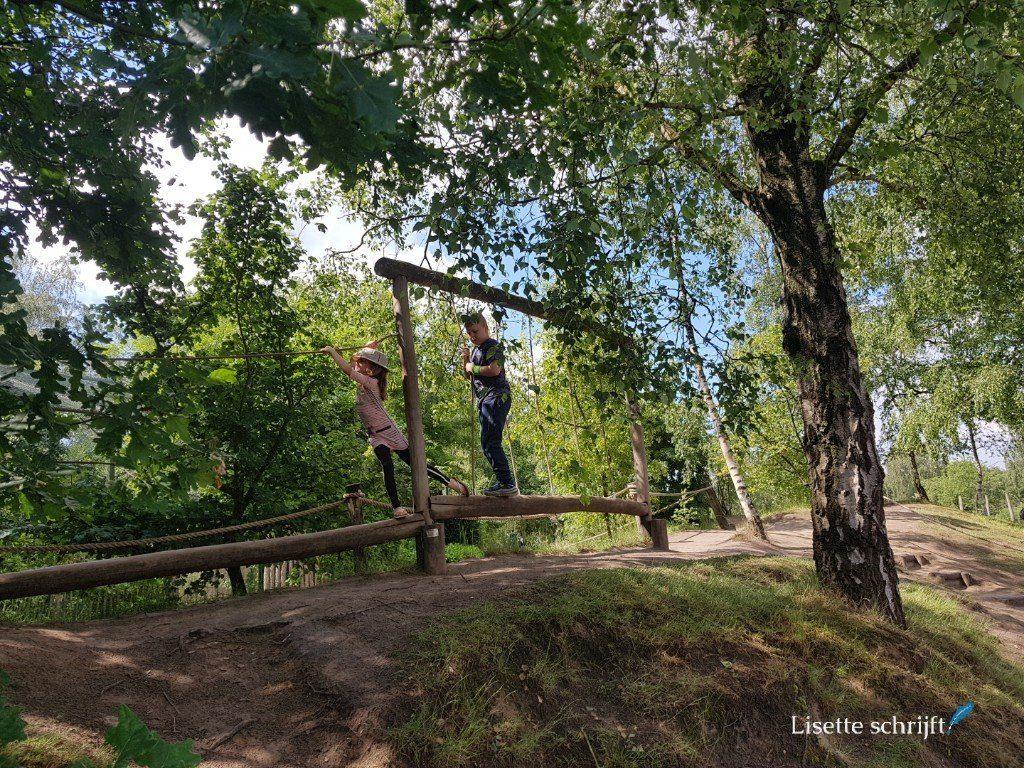 kinderen klimmen in het bos