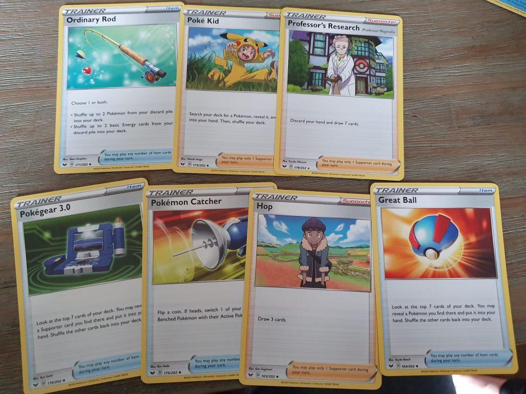 trainerkaarten van Pokemon trading card game sword & shield